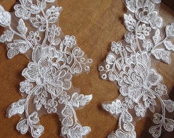 ivory lace applique with poenies, alencon lace appliques, 2 pcs on sale, CGDH038