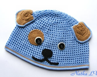Children's crochet dog hat, puppy hat, funny kid's hat, boy's girl's beanie, 3-5 years, animal hat, hat with ears, hand made, light blue