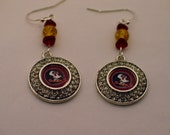 FSU Earrings, FSU Seminole Earrings, Seminole Earrings, Florida State FeatherGarnet Earrings, FSU Chandelier Earrings, Florida State Jewelry