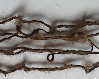 Thin Brown Hand spun Mohair Single ply Yarn for Doll Hair