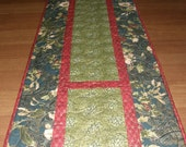 Christmas Quilted Table Runner Red Green, Table Runner Quilt Christmas Red Green, Red Green Holiday Quilt, Christmas Decor, Quiltsy Handmade