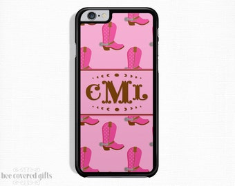 iPhone 6s Plus Case, iPhone 6s Case, iPhone 5s Case, iPhone 5c Case, Pink Cowgirl Boots, Monogram Gift (122)
