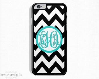 iPhone 6s Case, iPhone 6 Plus Case, iPhone 5s Case, iPhone 5c Case, Black Chevron, Monogram Gift (303)