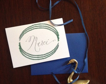 Merci Laurel Wreath Thank You Card