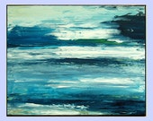 """Blue Landscape Acrylic Painting, Abstract Painting on canvas, thick texture, blue warm tones """"Beyond the horizon """"20x16 by M.Schöneberg"""