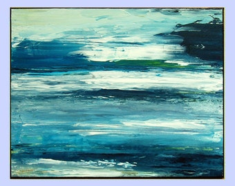 "Blue Landscape Acrylic Painting, Abstract Painting on canvas, thick texture, blue warm tones ""Beyond the horizon ""20x16 by M.Schöneberg"