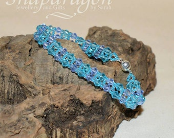 Blue crystal woven bead bracelet in two shades of blue