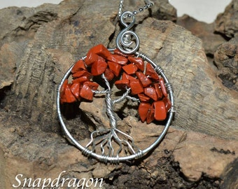 Red Jasper Tree of Life pendant with a ball chain necklace