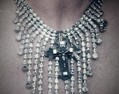 RESERVED for JEANNE Rhinestone and cross glamour choker...rhinestone bib...by The Vintage Junkie