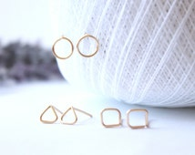 Gold Stud Earring Set Geometric Earrings Minimalist Post Earring Triangle Circle Square Minimalist Jewelry Tiny Gold Earrings Gifts for Her