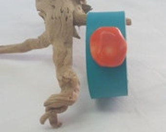 Turquoise Leather Cuff, Coral on Turquoise Leather Cuff, Organic Leather Wrist Cuff