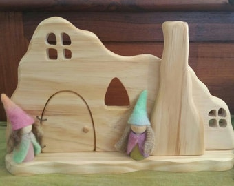 Natural Wooden Waldorf Gnome Home