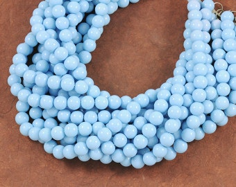 Baby Powder Blue Smooth Glass 8mm Rounds - Full 16 inch Strand - Lovely soft pale pastel blue color