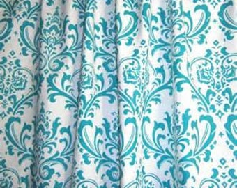 One pair girly blue and white damask  curtains 84in length
