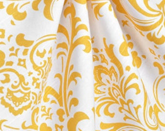 One pair yellow damask curtains