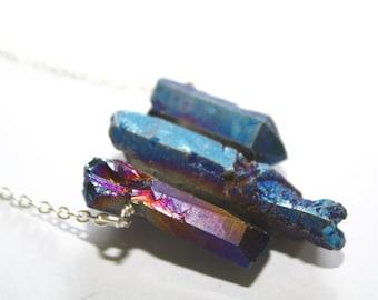 Titanium Quartz Spike Necklace Raw Quartz Necklace Raw Crystal Necklace