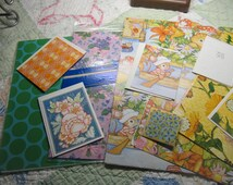 Vintage Lot of Wrapping Paper and Greeting Cards, Mice Cats Frogs Bees Mushrooms Butterflies, Pink with Violets, Blue Green Polka Dots T