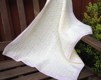 "Hand-made crochet baby blanket afghan made to order in any colour combination - 30""x20"""