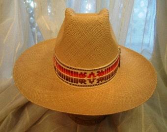 Vintage Natural Straw Panama Hat, Borsalino USA, ca 1960s