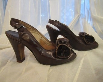 Pair of Vintage Chocolate Brown Leather Sling Back, Open Toe Shoes, I. Miller, ca 1930s
