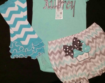 Baby Girl Birthday Outfit- Cupcake outfit- Birthday onesie, bloomers, leg warmers- Aqua and Gray