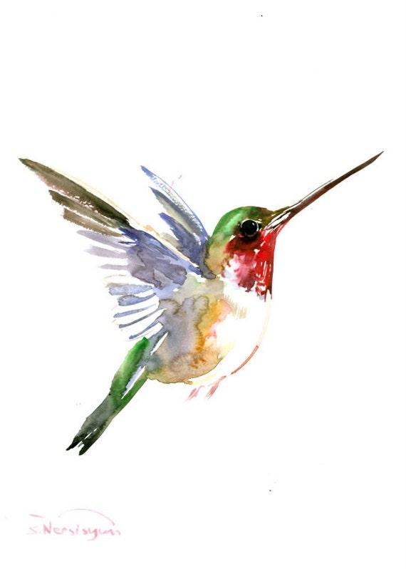 Hummingbird painting 14 x10 inzen painting bird minimalist