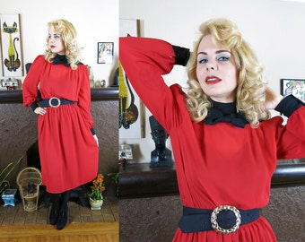 Vintage 1980s does 40s Cherry Red BOMBSHELL Evening SECRETARY Dress with Lolita Bow Collar- Large/ XL