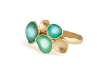 Aqua blue ring, geometric jewelry, statement ring, bright blue jewelry, colorful ring, gold enamel jewelry, blue gold ring, turquoise gold