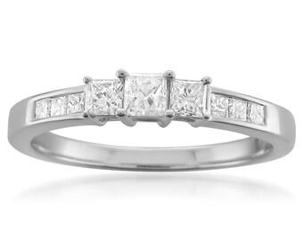 14k White Gold Princess-cut 3-Stone Three-Stone Diamond Engagement Wedding Ring (1/2 cttw, H-I, I1-I2)