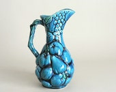 Decorative Blue Fruit Pottery Pitcher by Inarco