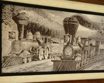 Amazing Train Art Vintage Printers Block Linoleum Block Original Print Plate Western Scene Trains Locomotives Train Art Western Wall Decor