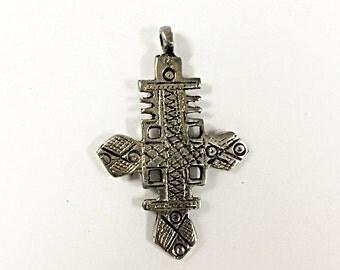 Silver Ethopian Cross Pendant, 2.3 inch, 56mm x 36mm Tribal Cross Pendant - HP114S