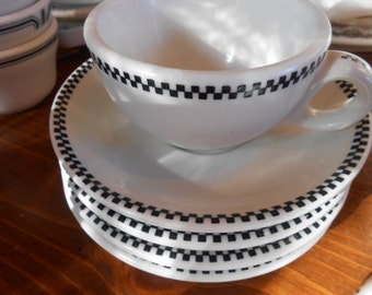 Shenango cups and saucers in checkerboard trim.