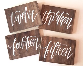 Rustic Wedding Signs, Wooden Wedding Table Numbers, Calligraphy Table Numbers, Spanish Table Numbers, Destination Table Numbers