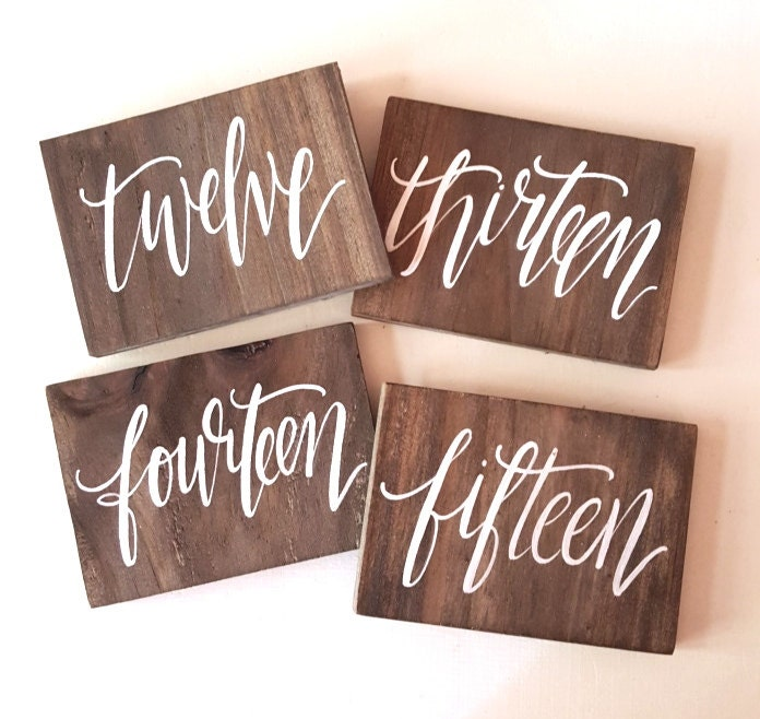 Wooden Table Numbers ~ Rustic wedding signs wooden table numbers