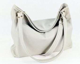 Gray Leather Hobo - Slouch Bag - Cross Body Bag - Leather Shoulder Bag