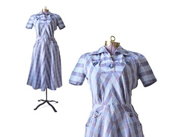 1940s Blue Dress / / 40s Small Dress / Plaid Dress  40s Day Dress / 1940s Cotton Dress /  Vintage Clothing / Women Dresses / Day Dress