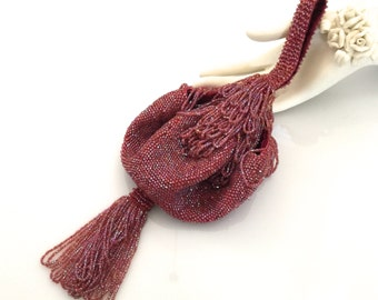 Beaded Purse, Iridescent Merlot Beads, Crochet/Knitted, Beaded Ball Tassel, Top Fringe, Vintage Beaded Flapper Purse, 1920s