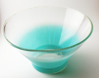 Turquoise/aqua Blendo salad or punch bowl -- fun Midcentury