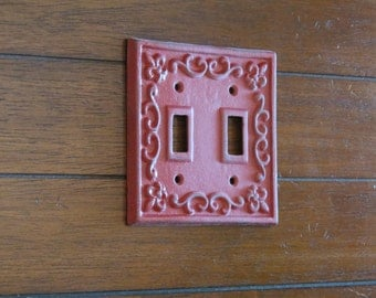 Colonial Red or Pick Your Color Double Light Switch Plate/Metal Switch Plate Cover/Switch Cover/Shabby Chic Switch Plate/Cottage Style