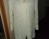 Ladies Hand Knitted Jacket, longer length, fitted, Aran yarn, 2 buttons, off white colour,lacy, long sleeves, washable FREEPOST UK