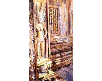 Watercolor painting of apsara statue on Khmer temple of Angkor Wat- Angkor Wat ruins near Siem Reap, Cambodia.  Art Angkor Wat painting