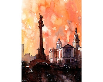 Columbus Monument statue at end of Ramblas in the Spanish city of Barcelona- Spain.  Art Barcelona watercolor.  Spain painting Barcelona art