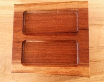 FREE SHIPPING // Black Walnut Wood Dish Serving Tray handmade rustic