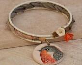 Memory Wire Wrap Bracelet with Cream Seed Beads, Sari Silk Ribbon, Polymer Clay Robin Bird Charm and Cream & Orange Flower Cup Beads