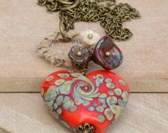 Red Lampwork Heart Necklace with Sari Silk Wire Wrapped Ring and Red, Cream & Bronze Czech Flower Cups