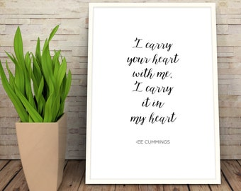 Book Quote   EE Cummings Quote Print   I Carry Your Heart   Typography Print   Literature   Classic Books, Poetry