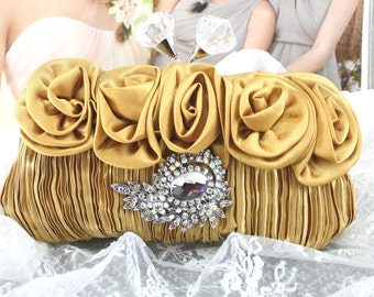 "Wedding Clutch, Wedding Purse, Satin ""Gold' Bridal Wedding Clutch, Bridal Accessories Style-14"