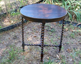 Antique Oval Top Barley Twist Side / Occasional Table