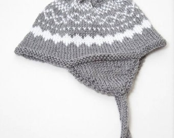 Grey and White Chullo Hat, Warm Ear Flap Hat With Ties, Fashion Hat